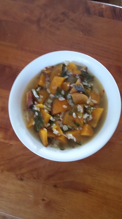 greens-sweet_potato-brown _rice-soup